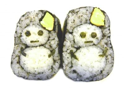 雪だるまのデコ巻き寿司