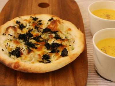 魚焼き器グリルで作る手作りピザとポタージュスープ