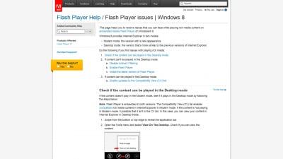 Flashインストールページのメッセージ