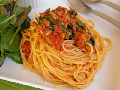 ツナとほうれん草のトマトスパゲティ