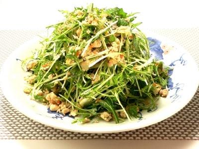 おかずになる大盛サラダ 水菜の豆腐そぼろサラダ
