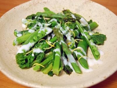春野菜の蒸しもの 塩麹ヨーグルトソース