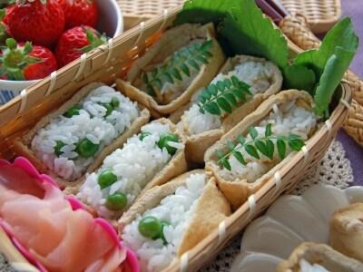 焼きたけのこ&グリンピースで、春のいなり寿司