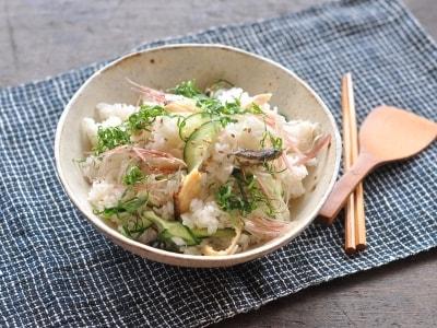 焼きカマスと夏野菜の混ぜ寿司