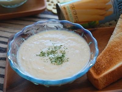 野菜の缶詰活用! ホワイトアスパラガスの冷製スープ