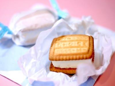 水切りヨーグルトで作る! ビスケットで挟んだアイスクリームサンド