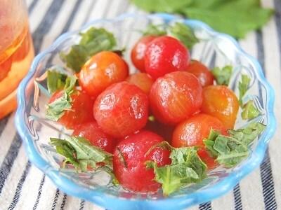 プチトマトの湯むき プチトマトのはちみつマリネ
