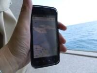 ジェットフォイルの中で表示したスマートフォンでの佐渡の地図