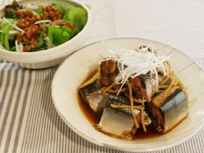 さんまの生姜煮と納豆ドレッシングサラダ
