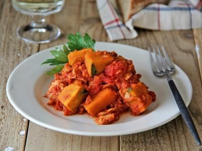 ほっくり甘い、かぼちゃのトマト煮