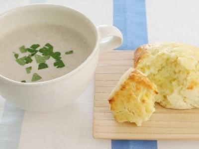 さつま芋とチーズのスコーンとごぼうときのこのスープ