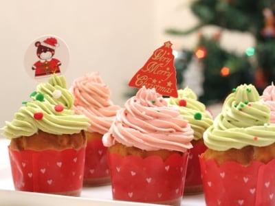 クリスマスカラーのおいしいバタークリームケーキ