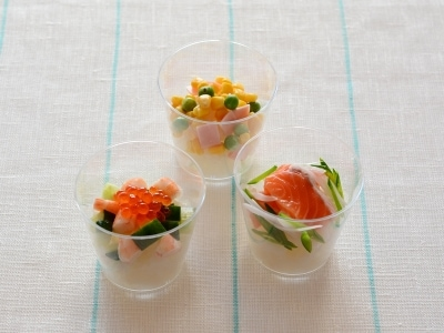 彩り華やか! 簡単カップちらし寿司3種