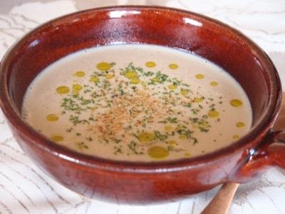 味噌風味インゲン豆とマッシュルームのまろやかスープ