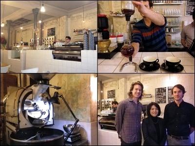 左上:COUTUMEParis店内undefined左下:焙煎にはプロバットを使用undefined右上:サイフォンで抽出するニュージーランド出身のスタッフundefined右下:オーナーのアントワンさん、トムさんと共に、狩野さん