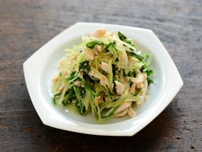 水菜とささみのごま酢和え