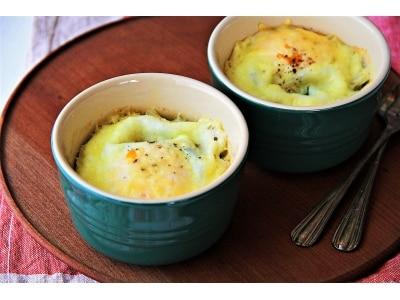 朝食に!半熟卵とほうれん草のココット