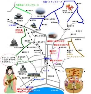 七福神めぐりコースの地図