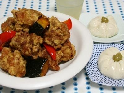 鶏のカレー風味から揚げとごま豆腐