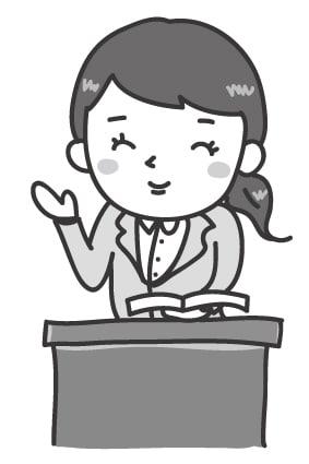 【モノクロ】優しそうな女性の先生です。