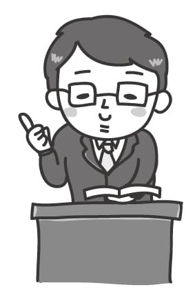 【モノクロ】優しそうな男性の先生です。