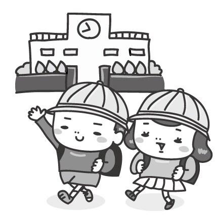 【モノクロ】元気に登校する子どもたちです。