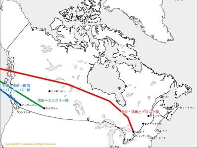 カナダ、アメリカ各都市の位置関係と直行便運航ルート(クリックで拡大)