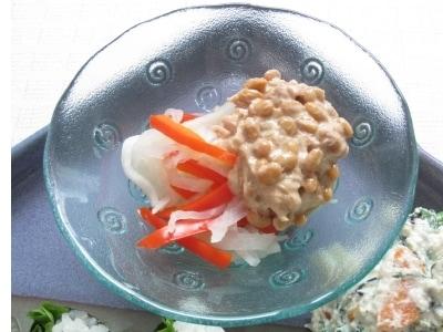 切干大根とパプリカのツナ納豆がけ