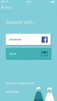 ログインする方法をメールアドレスかFacebookアカウントから選びます。ここでは、メールを選びます。