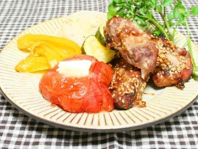 スペアリブのジンジャー焼きとトマトのオーブン焼き