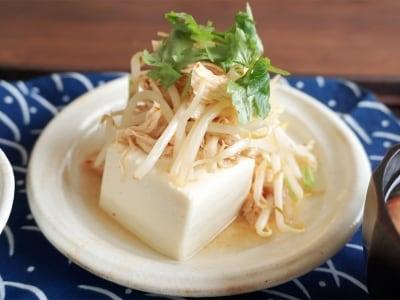 常備菜+豆腐で!ささみともやしのピリ辛奴