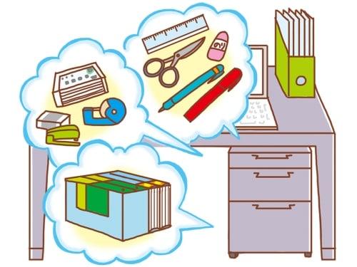 1段目はよく使う文具、2段目は小物や名刺、3段目は書類
