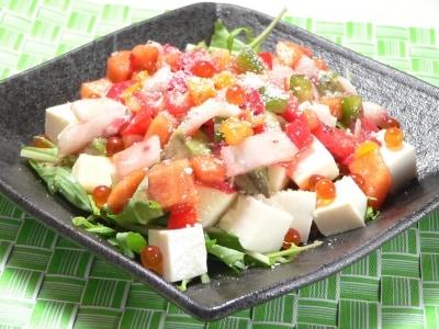 作り塩豆腐のフルーツドレッシングパワーサラダ