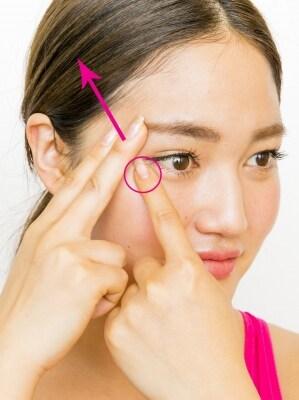 プロセス3。目の下を押さえ、目尻側を斜め上に引き上げ。