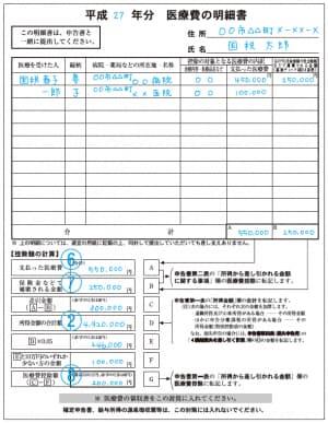 医療費の明細書イメージ(国税庁ウェブサイトより)