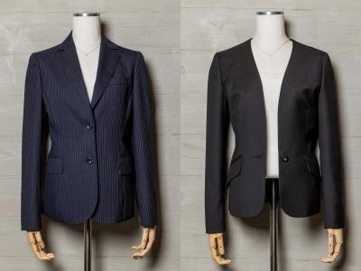 襟周りのデザインでかなり印象が変わります。テーラードはカッチリ、ノーカラーはすっきりフェミニンな印象。