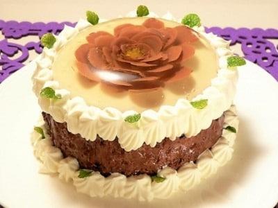バレンタインに!フラワーゼリーの華やかチョコケーキ