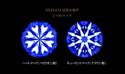 ダイヤのカッティング技術が確認できるハート&キューピット
