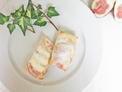 トースターで簡単、イチジクとチーズの春巻き皮包み