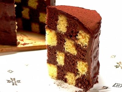 炊飯器でサン・セバスチャンのレシピ(チェック柄チョコケーキ)