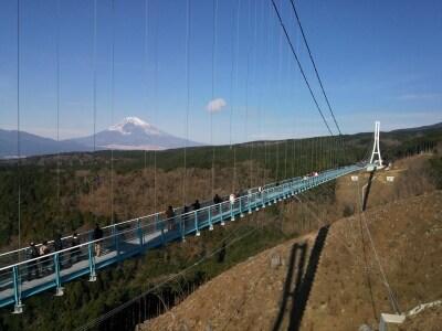 三島スカイウォークと富士山を望む