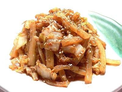 大根と白菜の味噌キムチ炒め