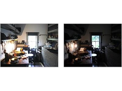 左の写真は明るすぎて窓やランプの詳細が白飛びしており、右の写真は暗すぎて詳細が見えていません。