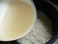 釜に米をあける