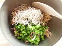 ご飯と材料を混ぜる