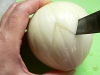 玉ねぎにナイフ差し入れ、キザギザに切り込みを入れる