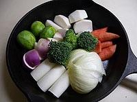 野菜が重ならないように並べる