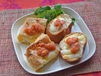 【アレンジ3】生トマト味噌をソースとして : バゲットとお揚げ